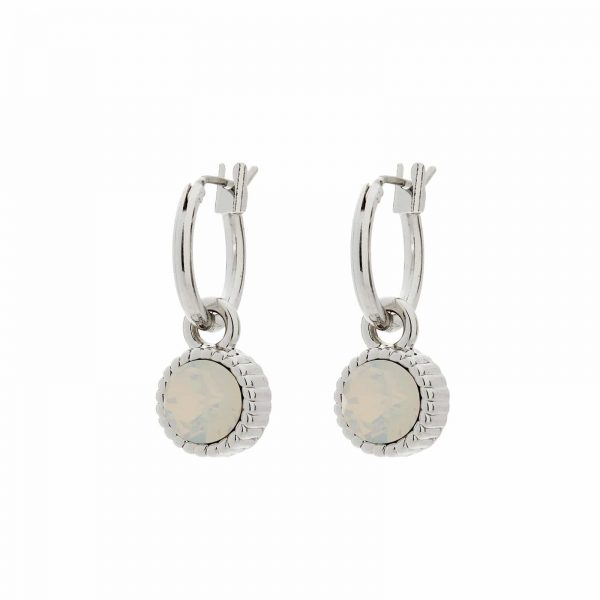 Hanger Zilver - White Opal
