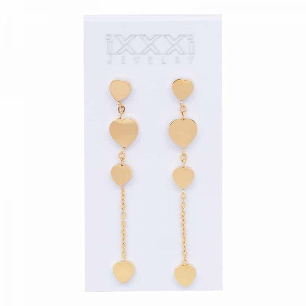 IXXXI Ear studs 4 hearts dangle goud