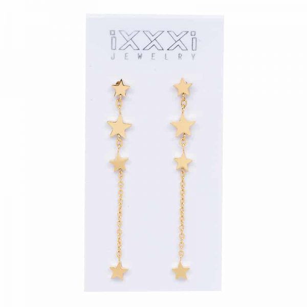 IXXXI Ear studs 4 stars dangle goud