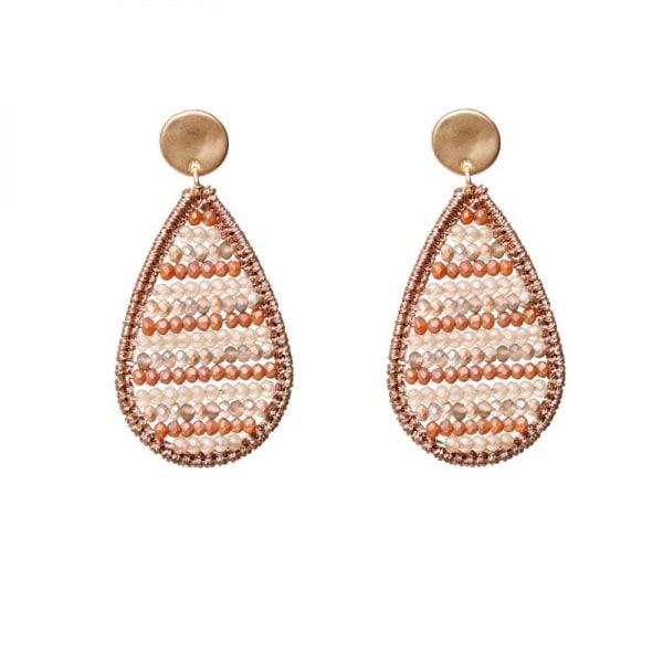 Luxury oorhangers - creme, oranje, roestkleur