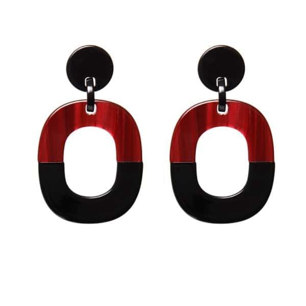 Luxury oorhangers - creme zwart