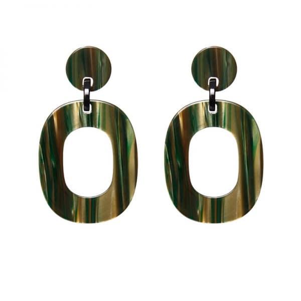 Luxury oorhangers - gemalleerd groen