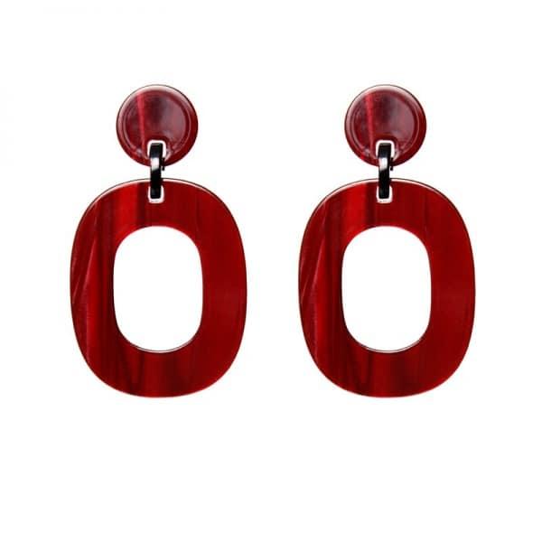 Luxury oorhangers - gemalleerd rood