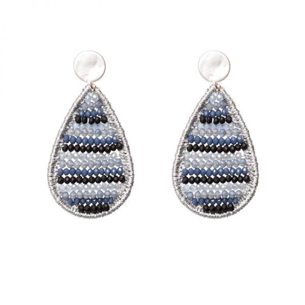 Luxury oorhangers - grijs, blauw en zwart