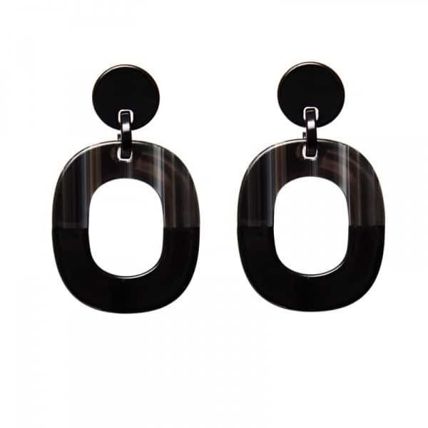 Luxury oorhangers - zwart bruin