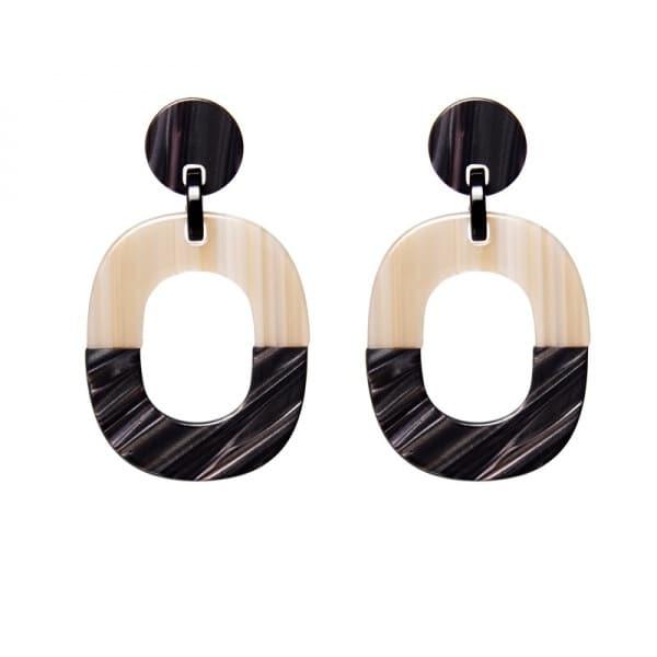 Luxury oorhangers - zwart creme