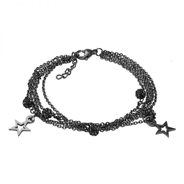 Chain ball star armband zwart - iXXXi