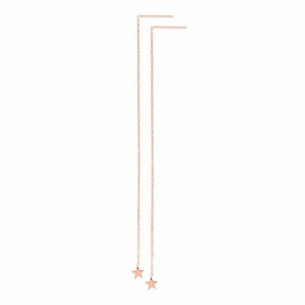 Chain star oorbellen rosé - iXXXi