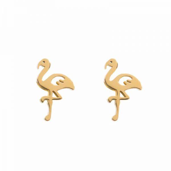 Flamingo oorbellen goud - iXXXi
