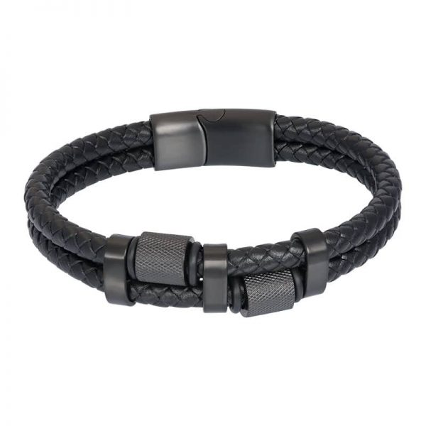 Lederen heren armband bowie zwart - iXXXi