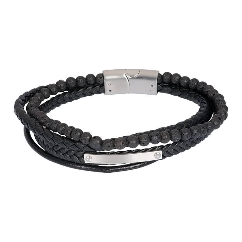 Lederen heren armband dexter zilver grijs - iXXXi
