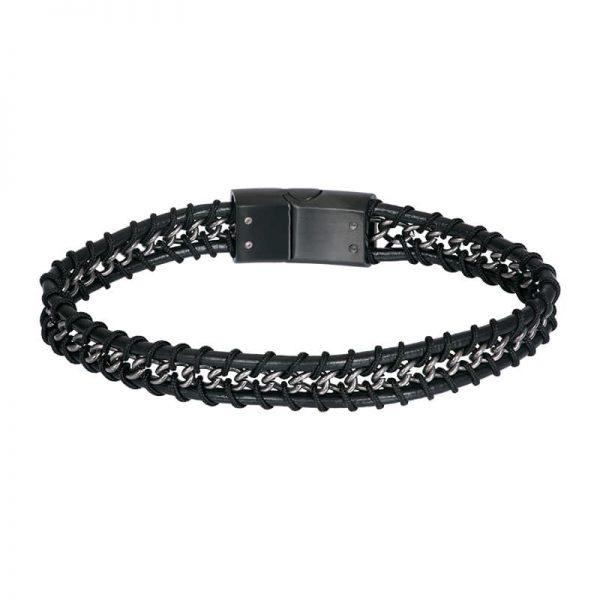 Lederen heren armband philip zwart - iXXXi