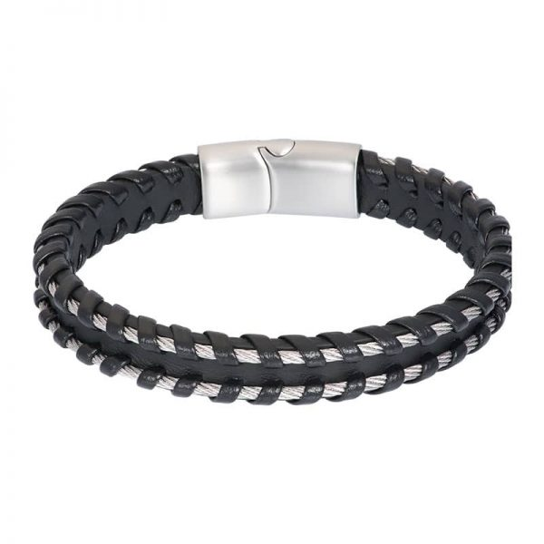 Lederen heren armband ruben zilver grijs - iXXXi