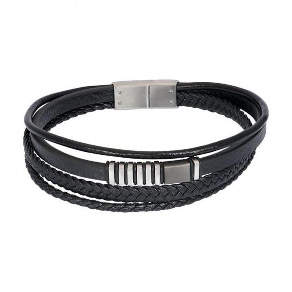Lederen heren armband tyson zilver grijs - iXXXi