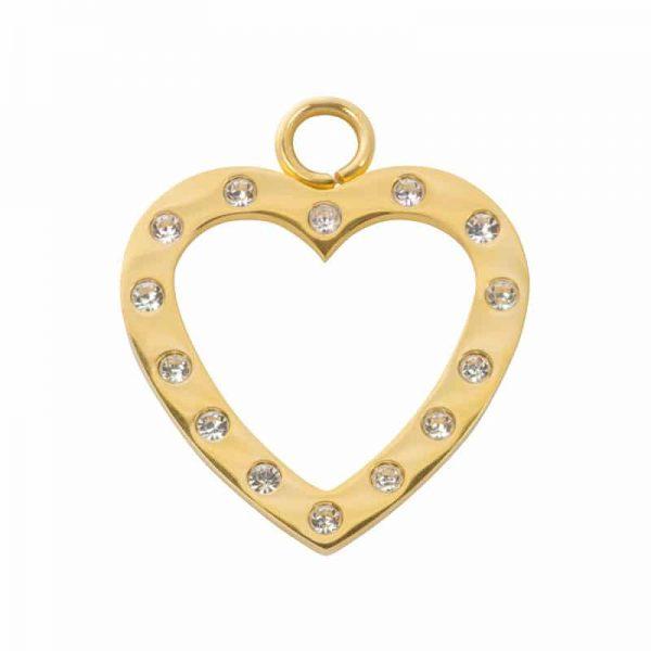 Open heart with zirconia hanger goud - iXXXi