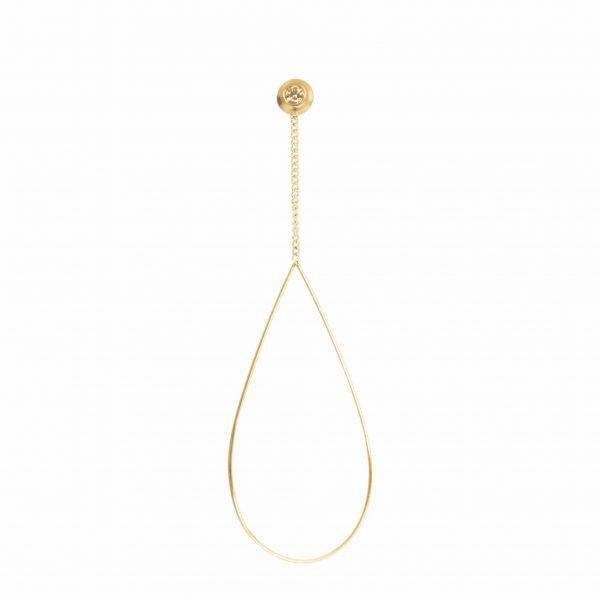 Oval chain stone oorbellen goud - iXXXi
