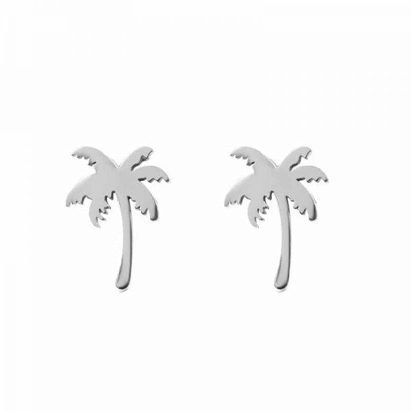 Palm tree oorbellen zilver - iXXXi