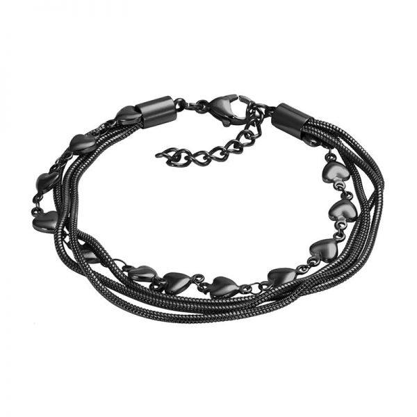 Snake and heart 23+4 enkelbandje zwart - iXXXi
