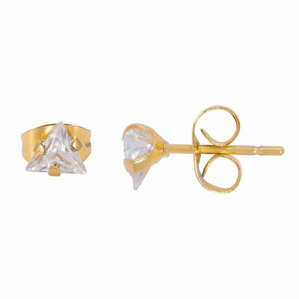 Triangle stone oorbellen goud - iXXXi