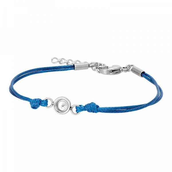 Wax cord top part basis armband blauw/zilver - iXXXi