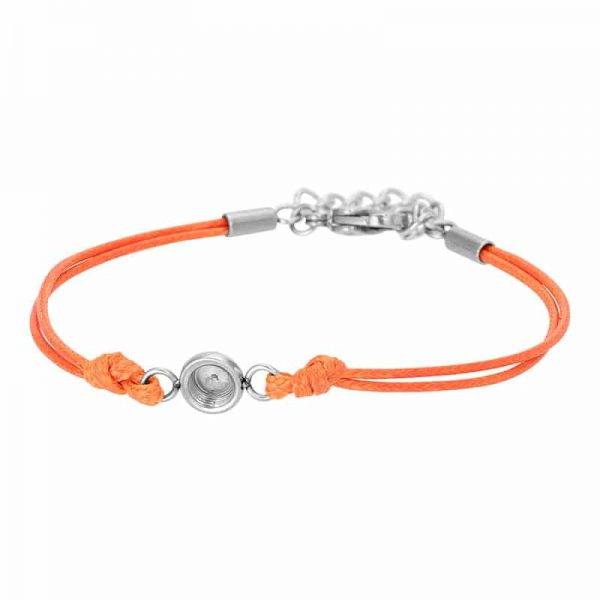 Wax cord top part basis armband oranje/zilver - iXXXi