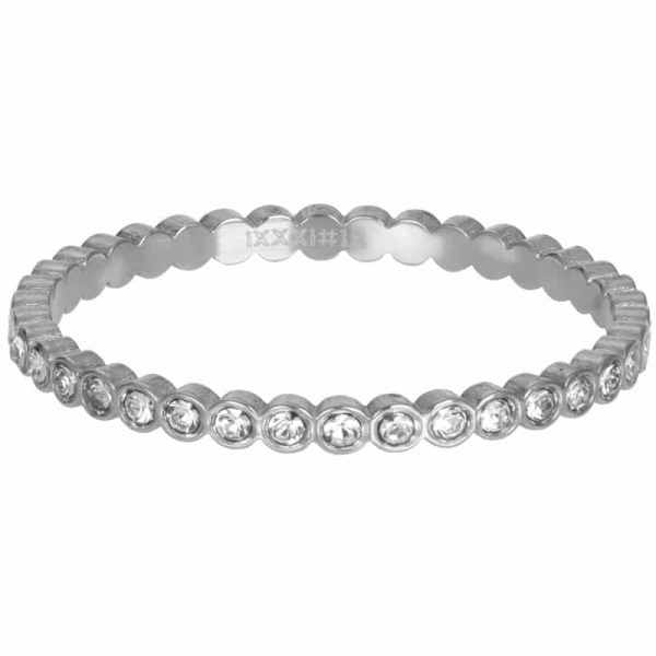 Zilverkleurige vulring klein rondje met steentjes R05804-03 - iXXXi