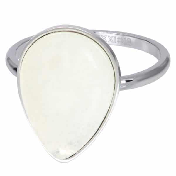 Zilverkleurige vulring steen druppel wit R05703-03 - iXXXi
